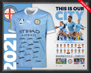 2021 A-LEAGUE CHAMPIONS TEAM SIGNED JERSEY - FRAMED